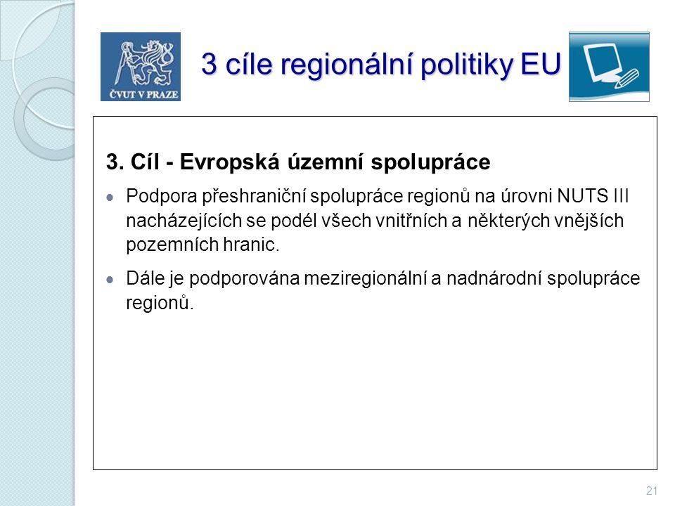 3 cíle regionální politiky EU