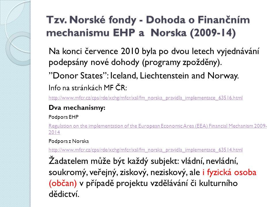 Tzv. Norské fondy - Dohoda o Finančním mechanismu EHP a Norska (2009-14)