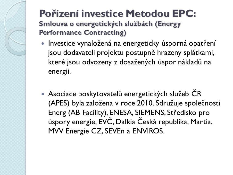 Pořízení investice Metodou EPC: Smlouva o energetických službách (Energy Performance Contracting)