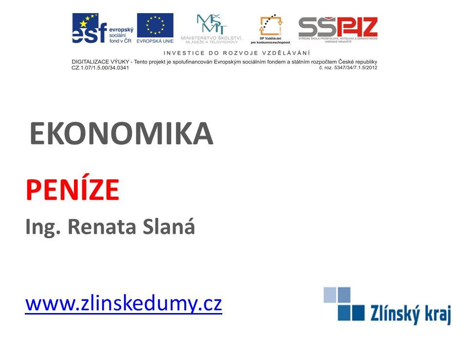 PENÍZE Ing. Renata Slaná www.zlinskedumy.cz