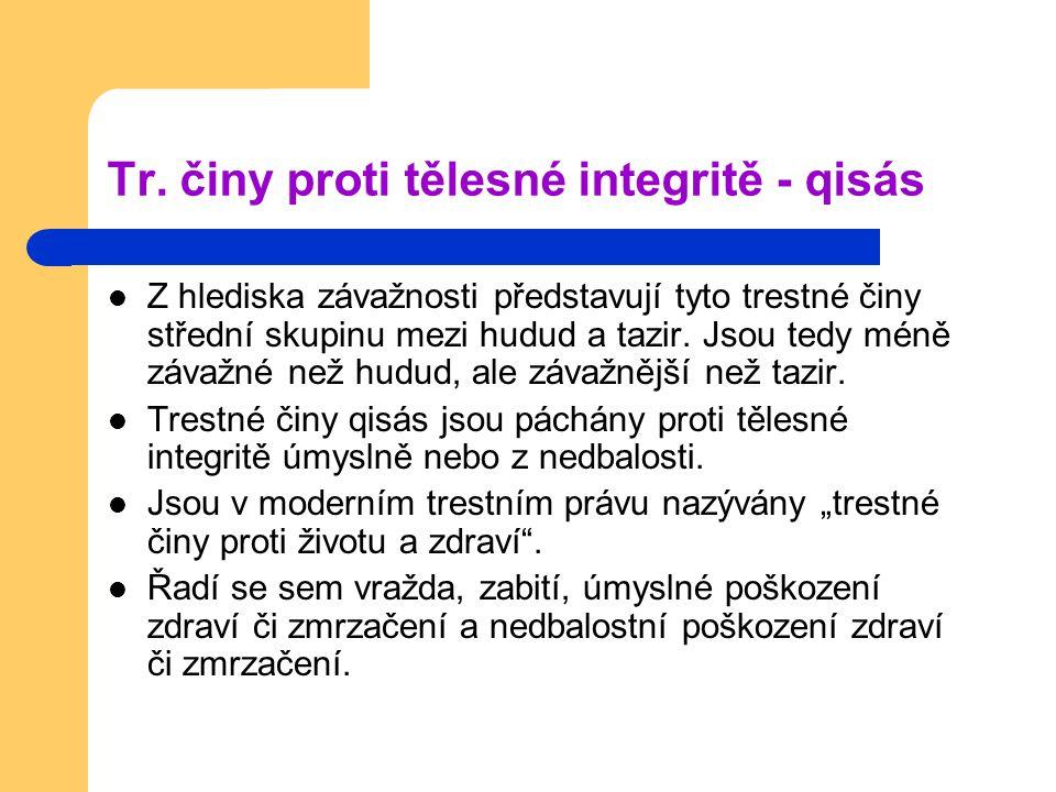 Tr. činy proti tělesné integritě - qisás