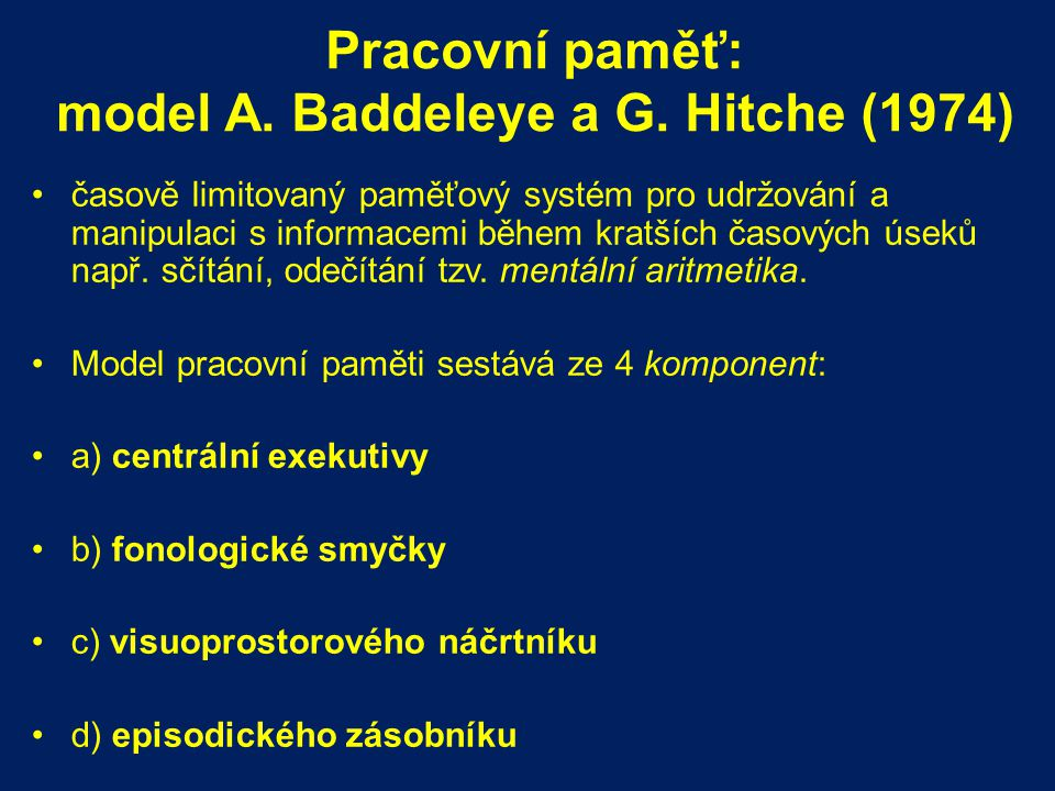 Pracovní paměť: model A. Baddeleye a G. Hitche (1974)