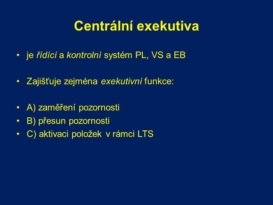 Centrální exekutiva je řídící a kontrolní systém PL, VS a EB