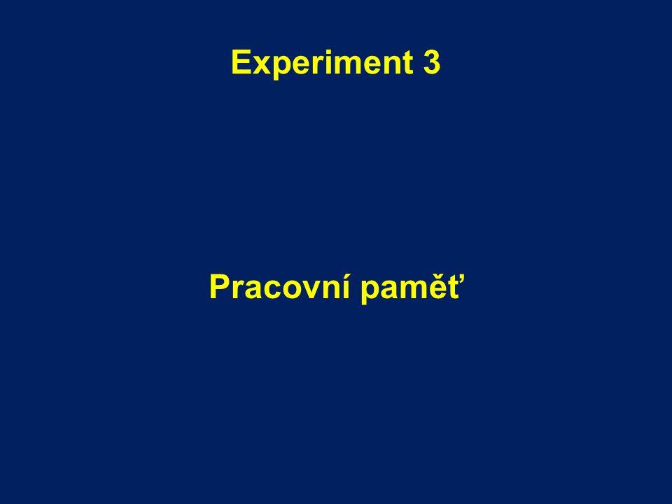 Experiment 3 Pracovní paměť