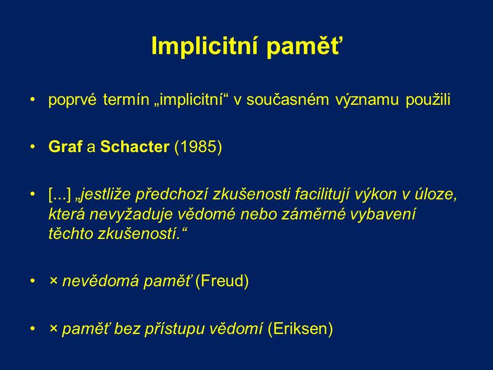"""Implicitní paměť poprvé termín """"implicitní v současném významu použili. Graf a Schacter (1985)"""