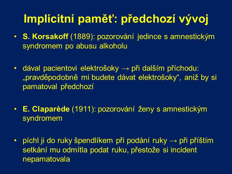 Implicitní paměť: předchozí vývoj