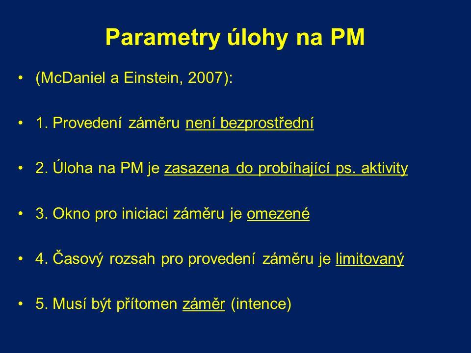 Parametry úlohy na PM (McDaniel a Einstein, 2007):
