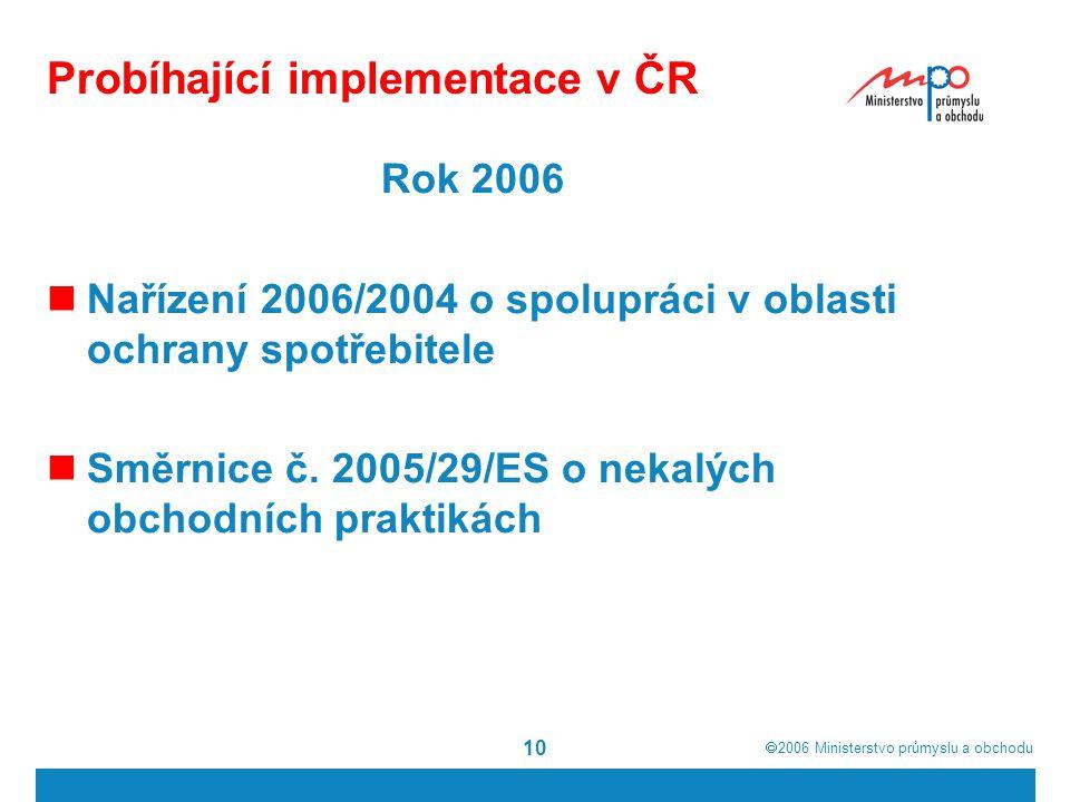 Probíhající implementace v ČR