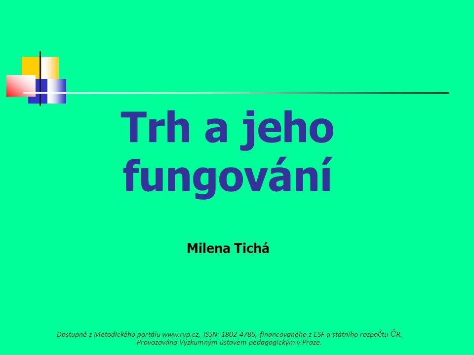 Trh a jeho fungování Milena Tichá