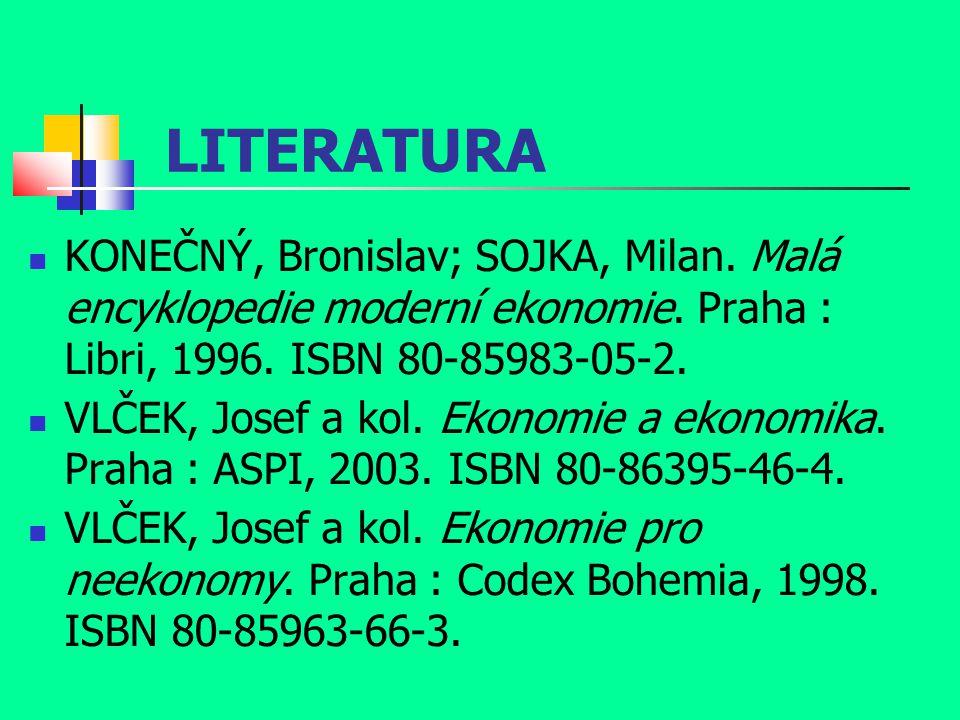 LITERATURA KONEČNÝ, Bronislav; SOJKA, Milan. Malá encyklopedie moderní ekonomie. Praha : Libri, 1996. ISBN 80-85983-05-2.