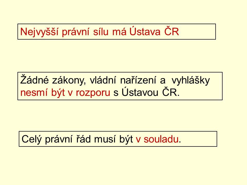 Nejvyšší právní sílu má Ústava ČR