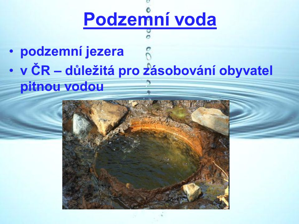 Podzemní voda podzemní jezera