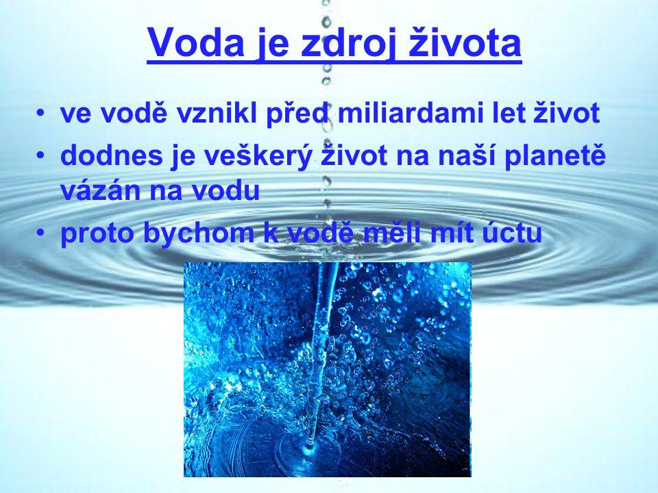 Voda je zdroj života ve vodě vznikl před miliardami let život