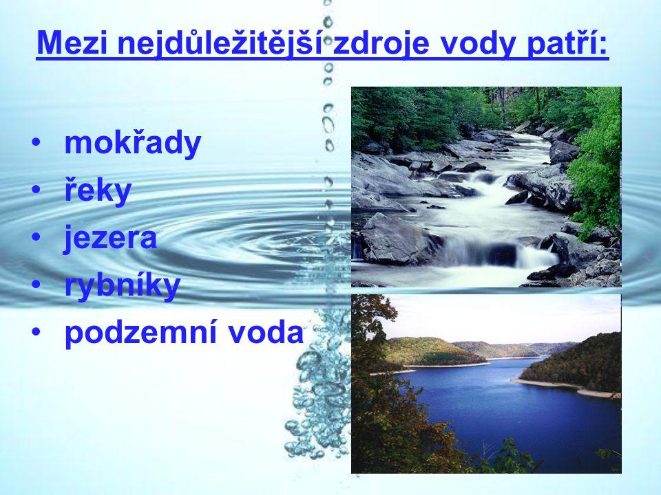 Mezi nejdůležitější zdroje vody patří: