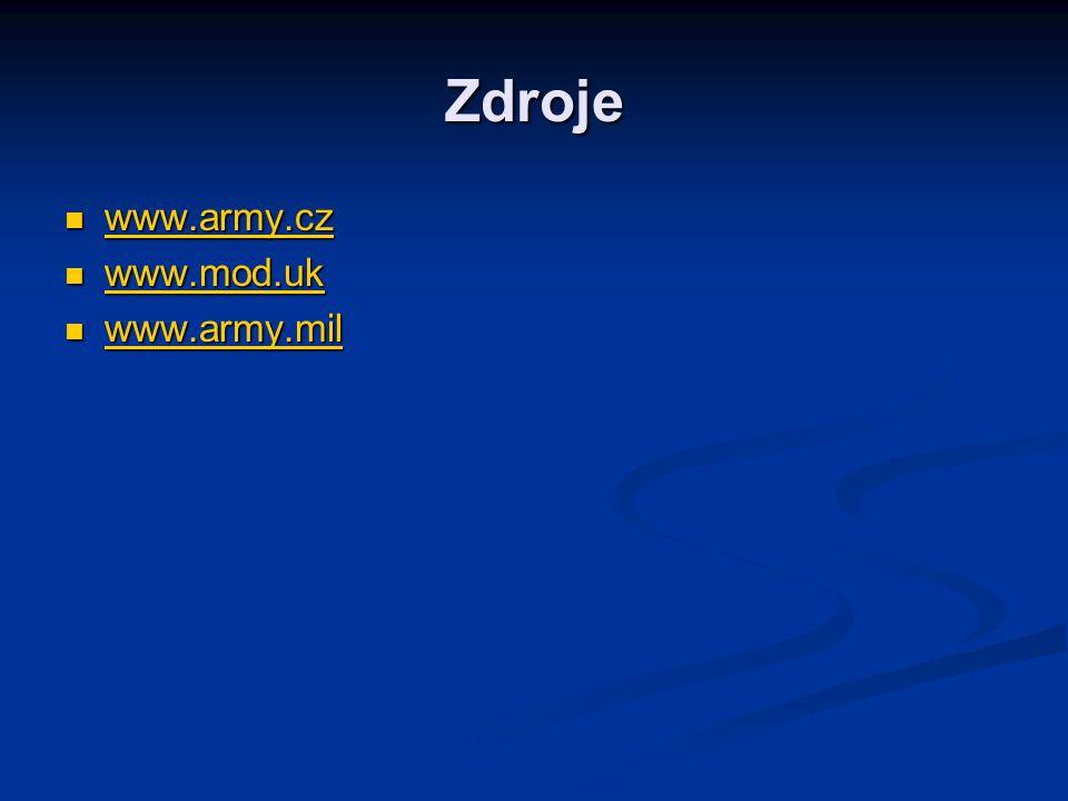 Zdroje www.army.cz www.mod.uk www.army.mil