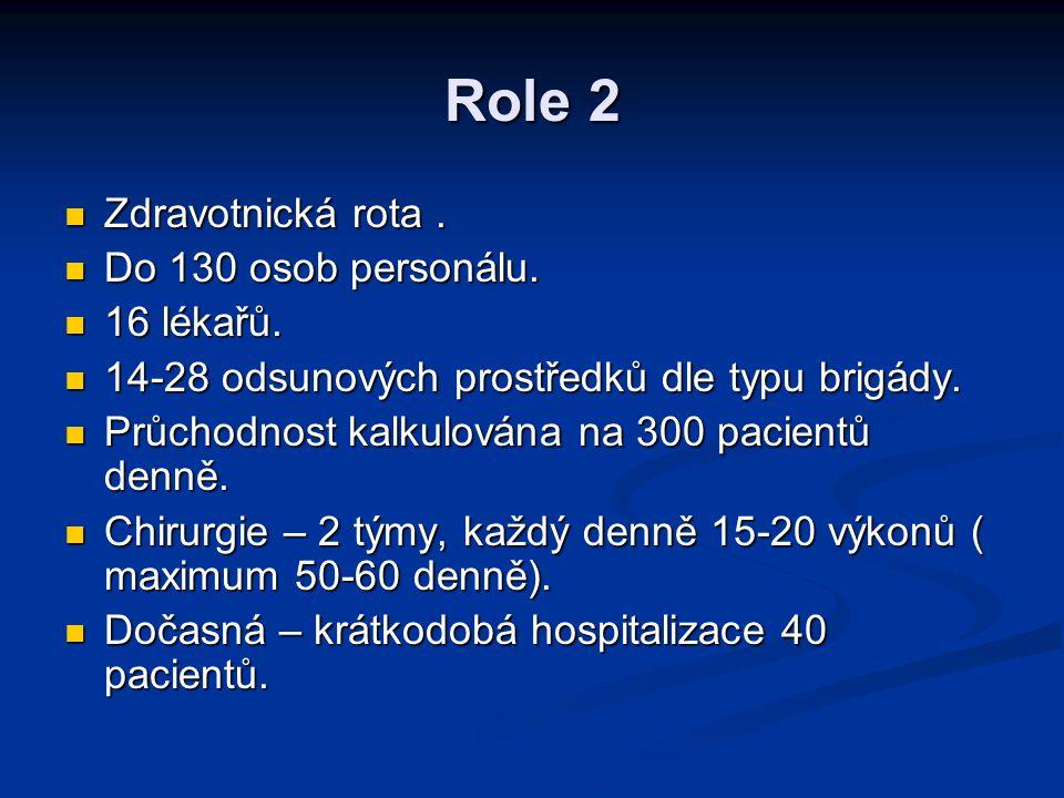 Role 2 Zdravotnická rota . Do 130 osob personálu. 16 lékařů.
