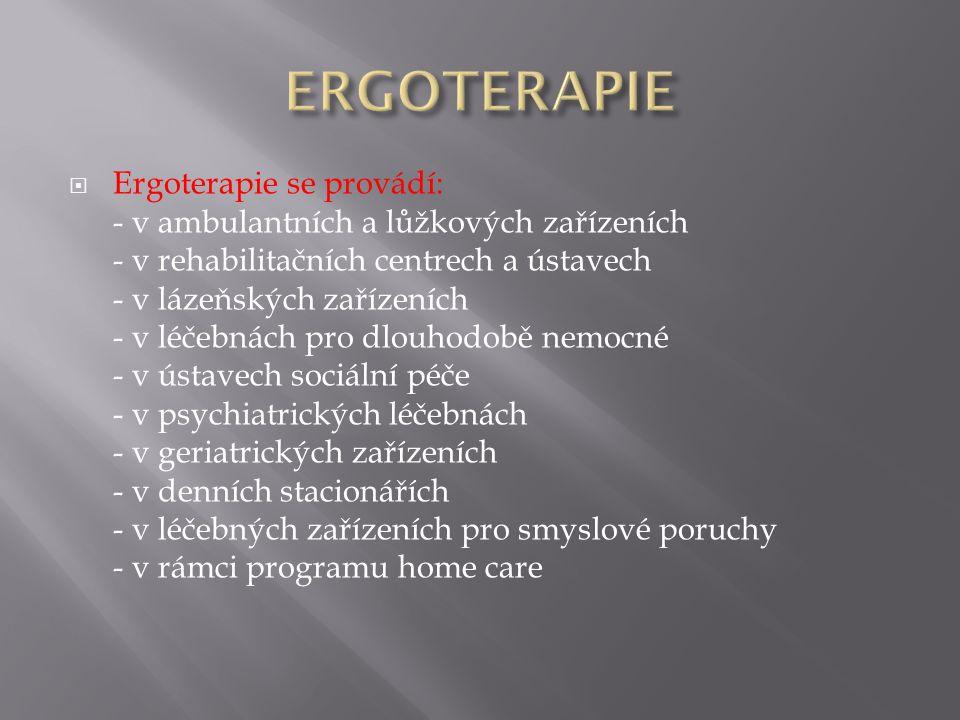 ERGOTERAPIE Ergoterapie se provádí: