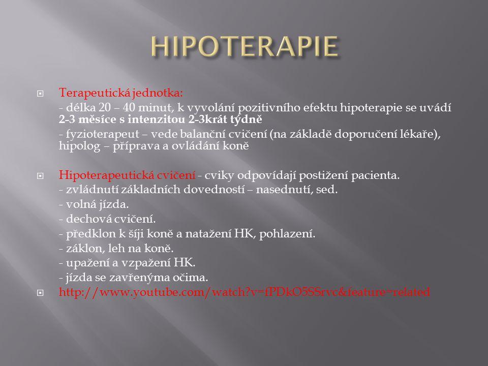 HIPOTERAPIE Terapeutická jednotka: