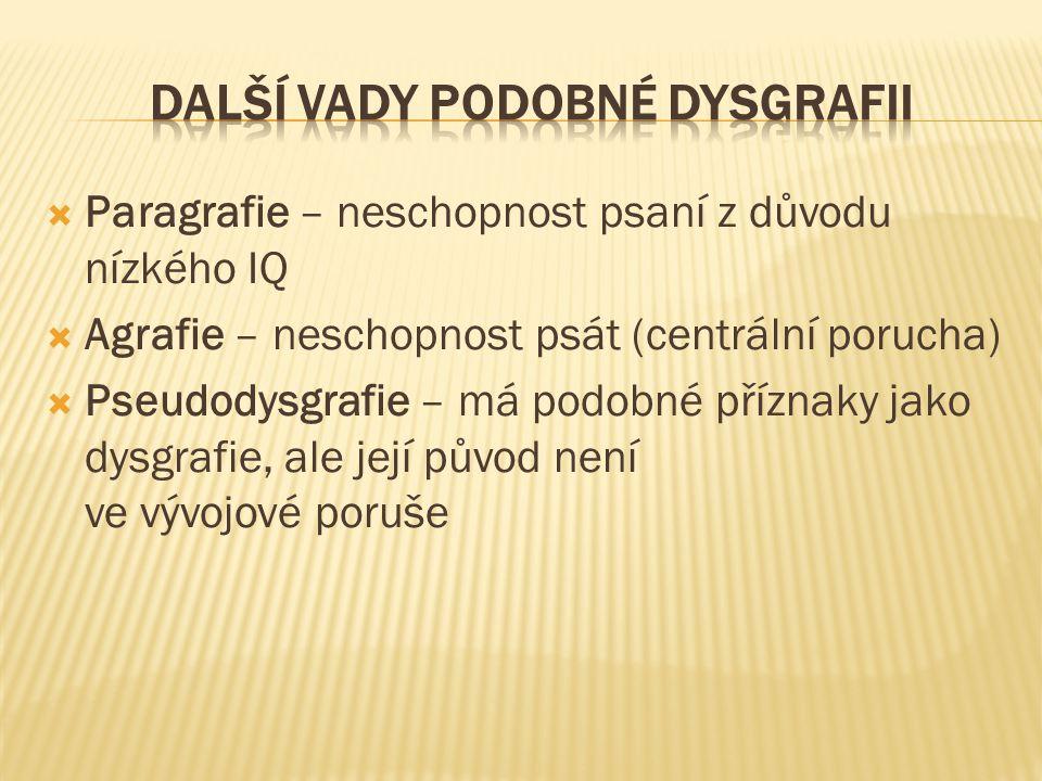 Další vady podobné dysgrafii