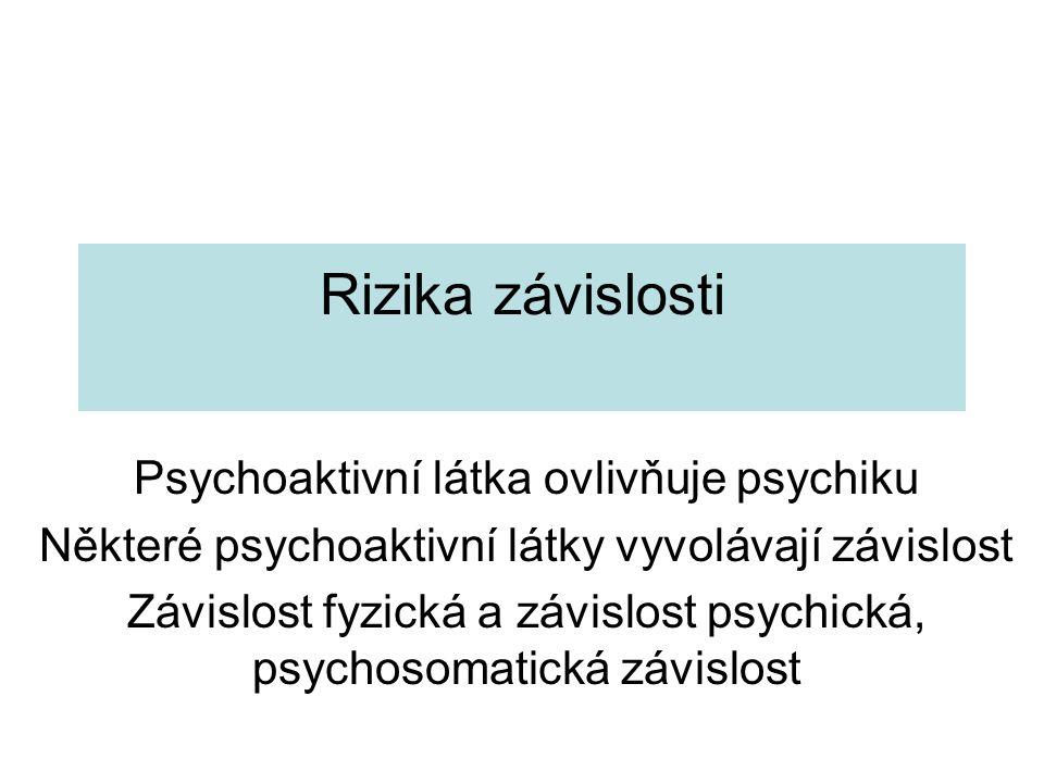 Rizika závislosti Psychoaktivní látka ovlivňuje psychiku