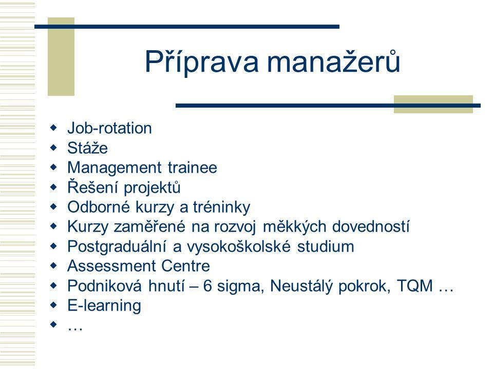 Příprava manažerů Job-rotation Stáže Management trainee