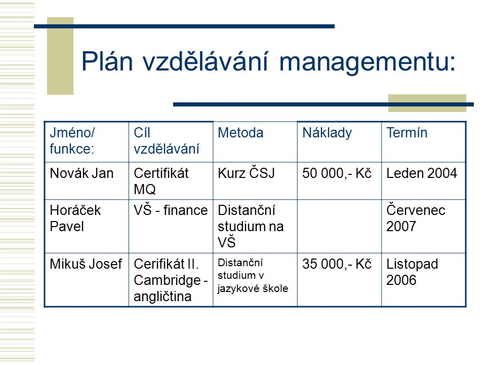 Plán vzdělávání managementu: