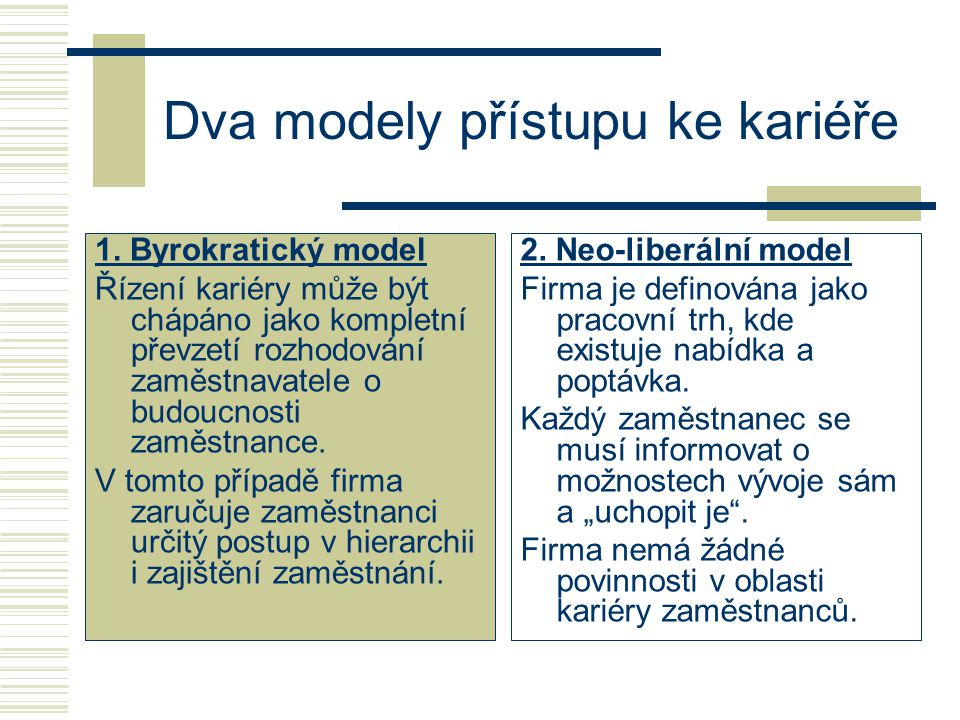 Dva modely přístupu ke kariéře