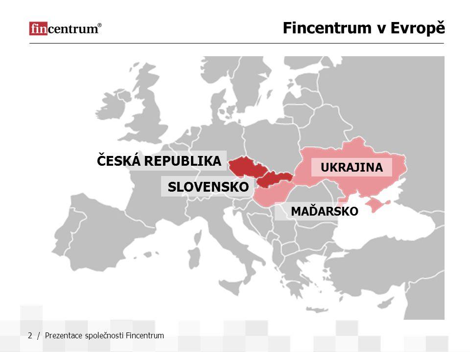 Fincentrum v Evropě ČESKÁ REPUBLIKA SLOVENSKO UKRAJINA MAĎARSKO