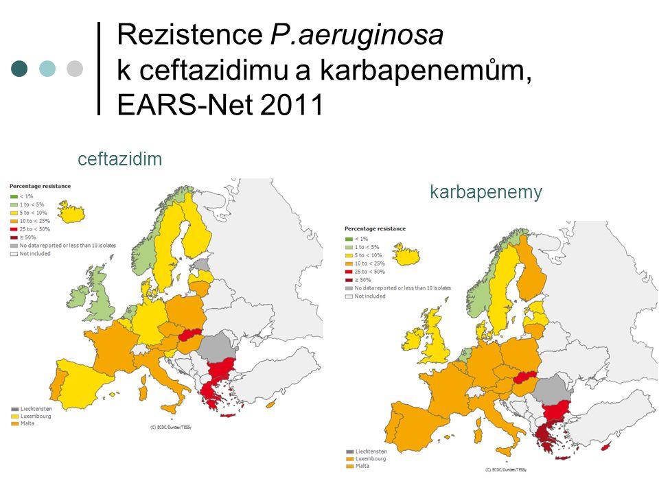 Rezistence P.aeruginosa k ceftazidimu a karbapenemům, EARS-Net 2011