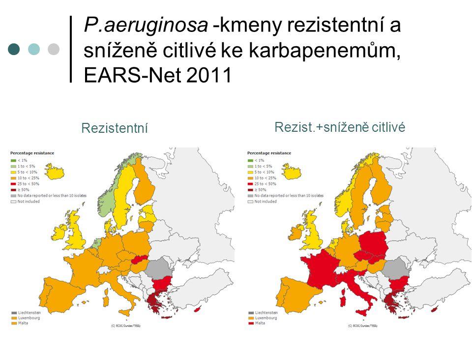P.aeruginosa -kmeny rezistentní a sníženě citlivé ke karbapenemům, EARS-Net 2011
