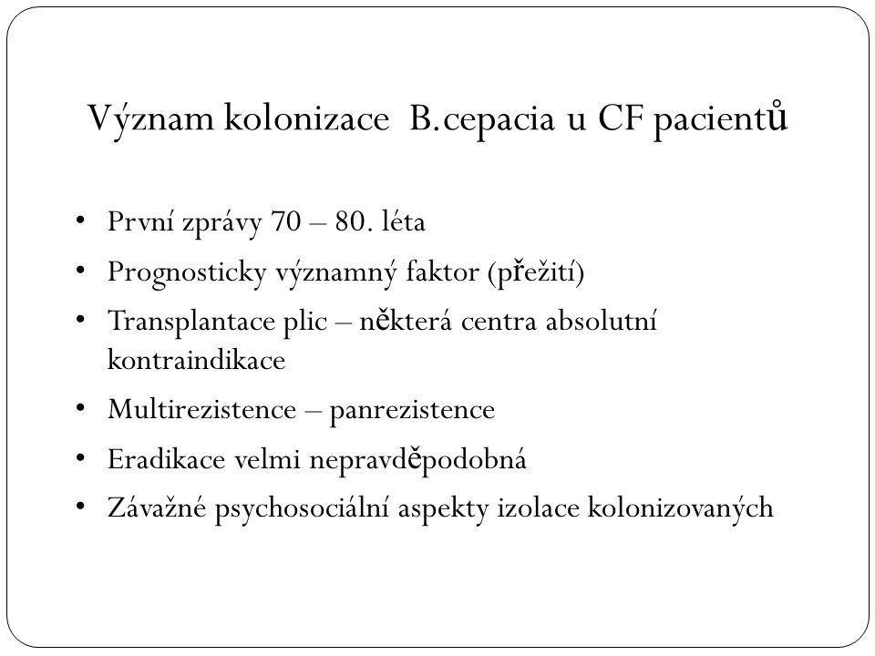 Význam kolonizace B.cepacia u CF pacientů