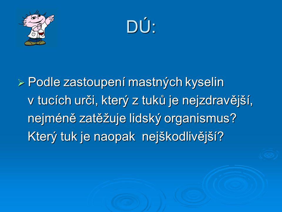 DÚ: Podle zastoupení mastných kyselin