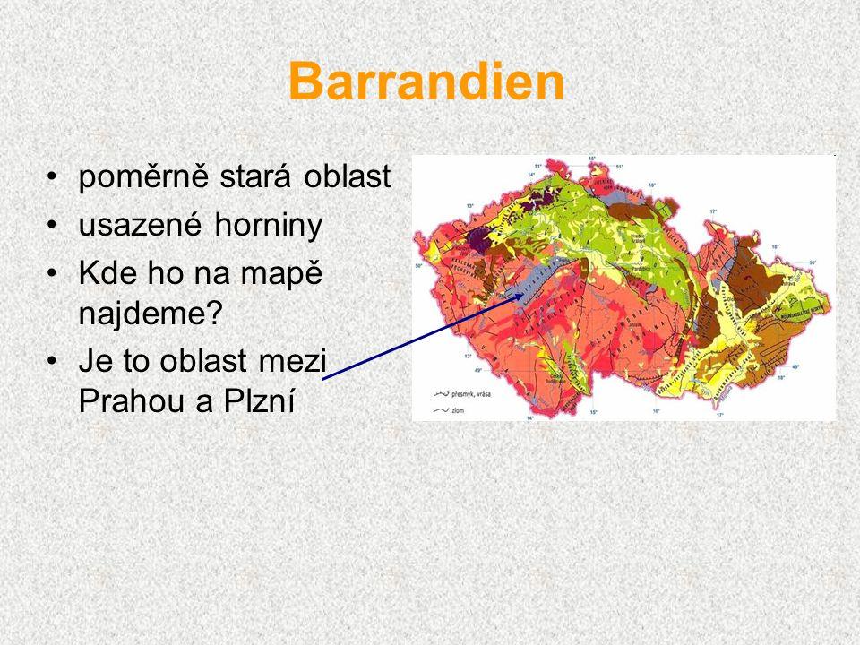 Barrandien poměrně stará oblast usazené horniny