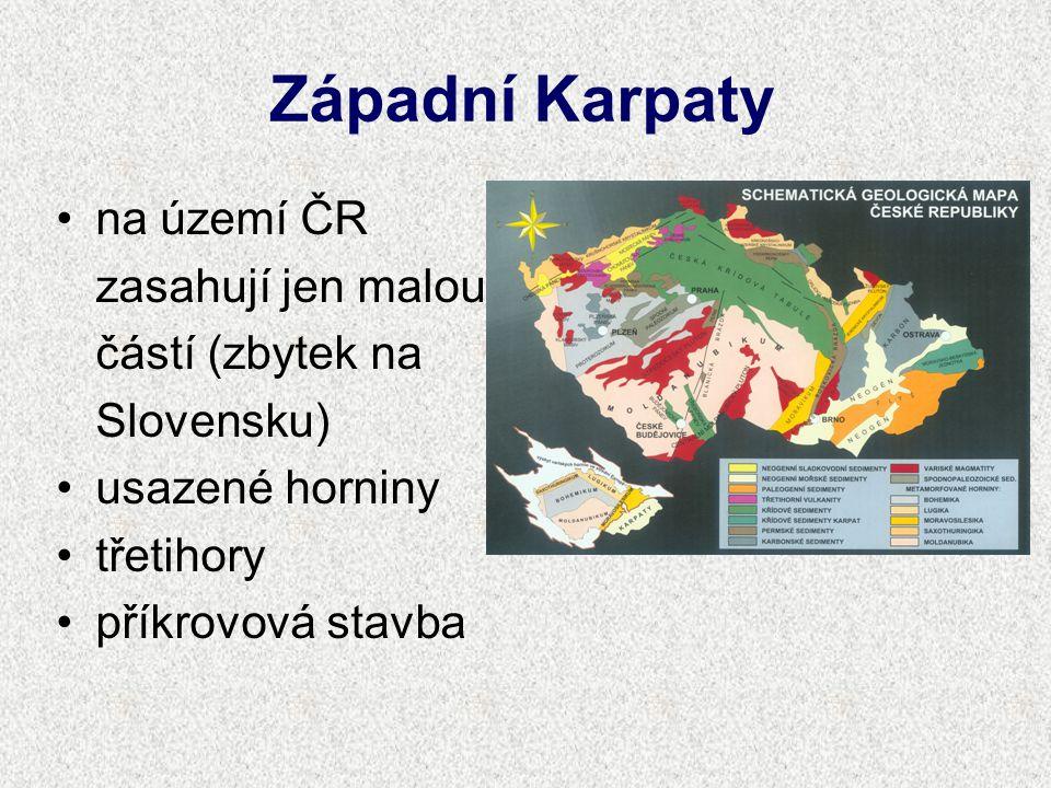 Západní Karpaty na území ČR zasahují jen malou částí (zbytek na