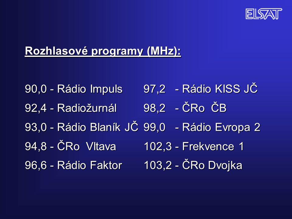 Rozhlasové programy (MHz): 90,0 - Rádio Impuls. 97,2 - Rádio KISS JČ