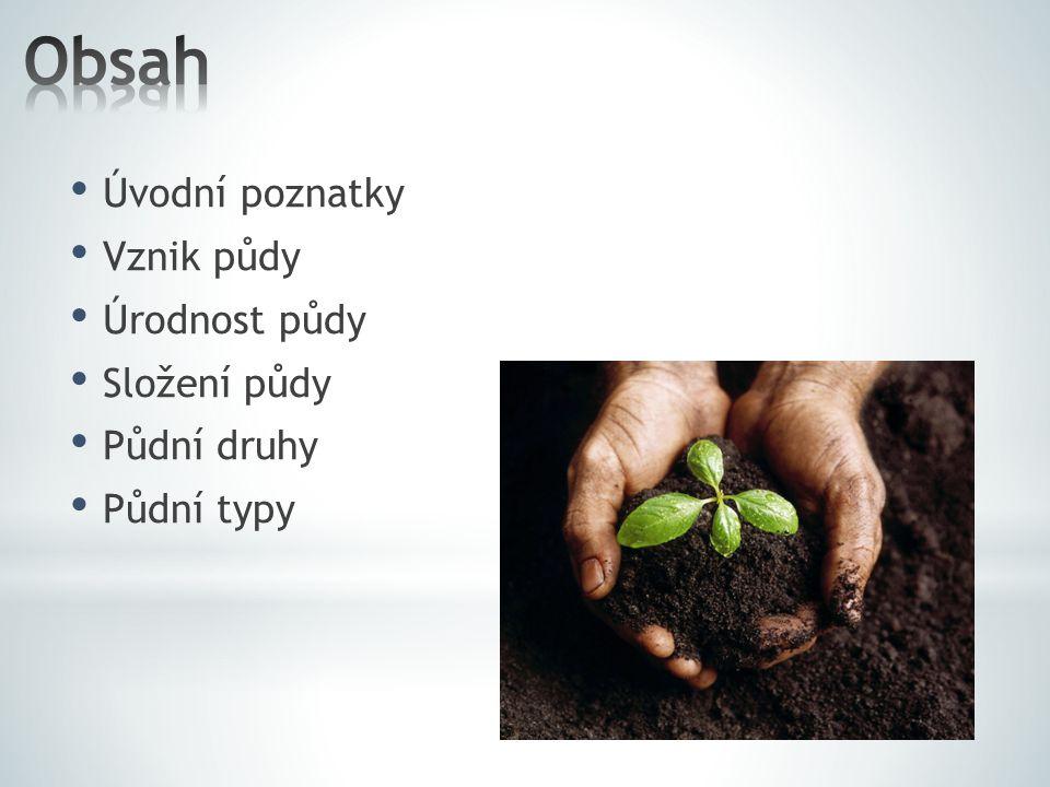 Obsah Úvodní poznatky Vznik půdy Úrodnost půdy Složení půdy