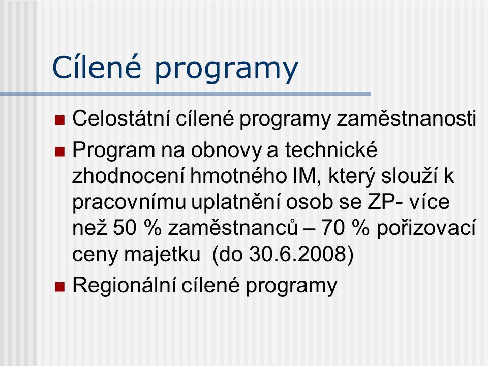 Cílené programy Celostátní cílené programy zaměstnanosti