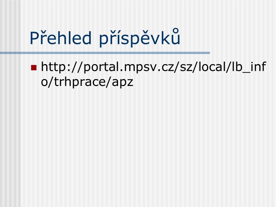 Přehled příspěvků http://portal.mpsv.cz/sz/local/lb_info/trhprace/apz