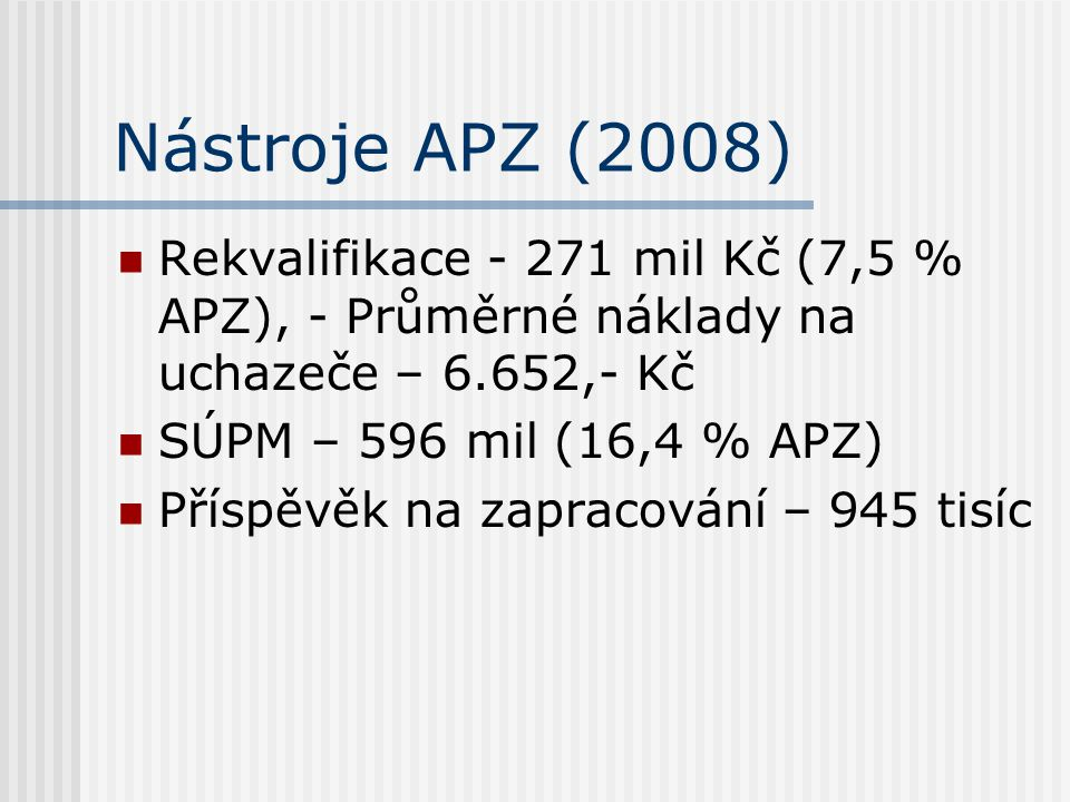 Nástroje APZ (2008) Rekvalifikace - 271 mil Kč (7,5 % APZ), - Průměrné náklady na uchazeče – 6.652,- Kč.