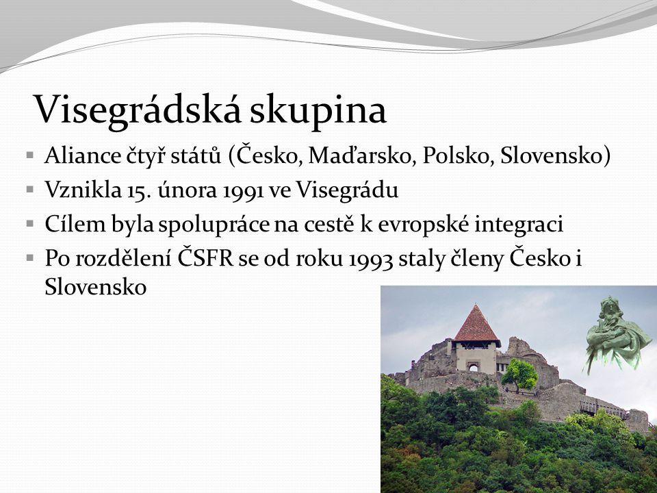 Visegrádská skupina Aliance čtyř států (Česko, Maďarsko, Polsko, Slovensko) Vznikla 15. února 1991 ve Visegrádu.
