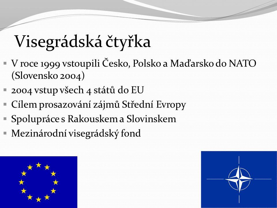 Visegrádská čtyřka V roce 1999 vstoupili Česko, Polsko a Maďarsko do NATO (Slovensko 2004) 2004 vstup všech 4 států do EU.