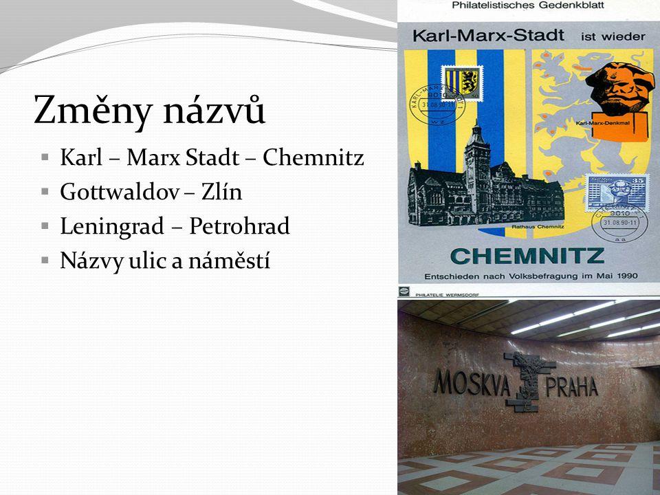 Změny názvů Karl – Marx Stadt – Chemnitz Gottwaldov – Zlín