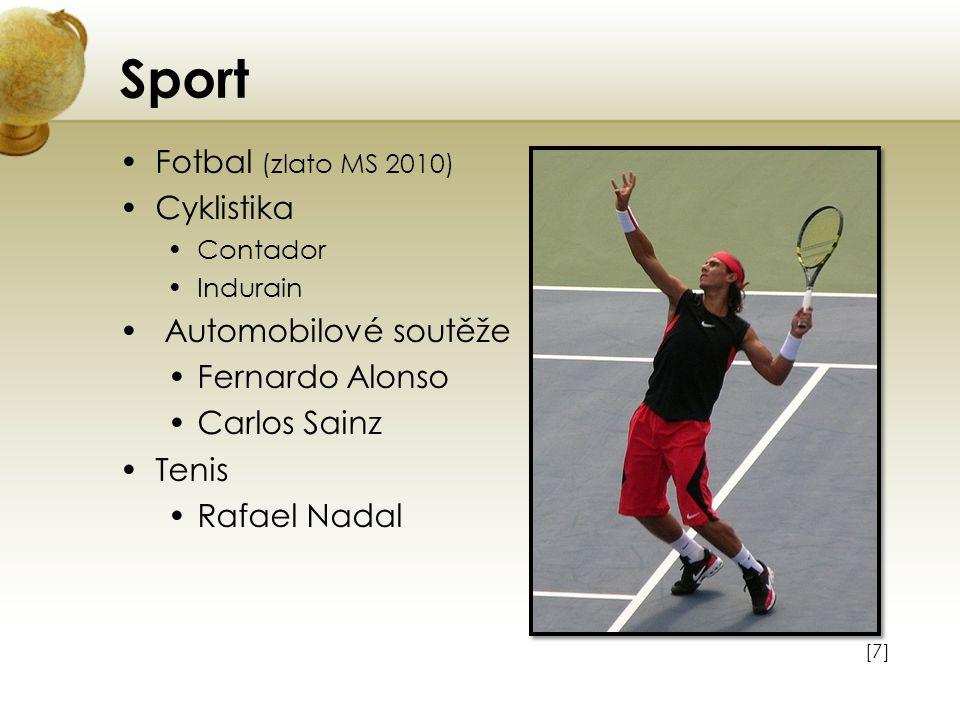 Sport Fotbal (zlato MS 2010) Cyklistika Automobilové soutěže