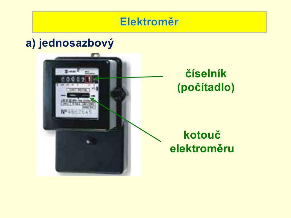 Elektroměr a) jednosazbový číselník (počítadlo) kotouč elektroměru