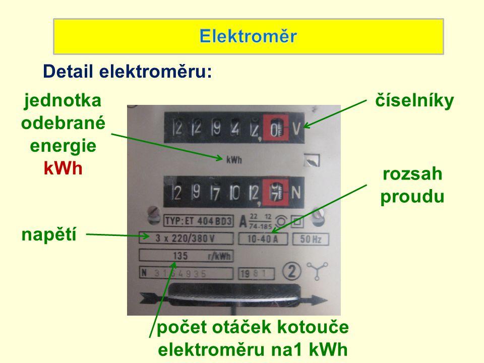 jednotka odebrané energie počet otáček kotouče elektroměru na1 kWh