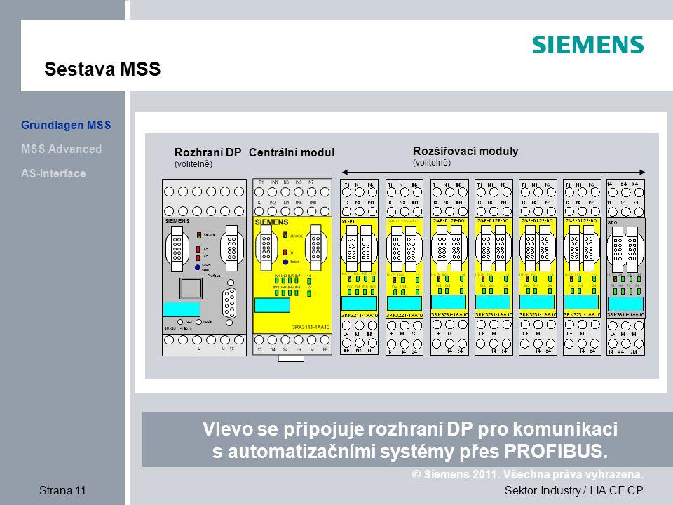 Sestava MSS Grundlagen MSS. MSS Advanced. Rozhraní DP. (volitelně) Centrální modul. Rozšiřovací moduly.
