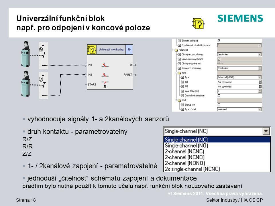 Univerzální funkční blok např. pro odpojení v koncové poloze