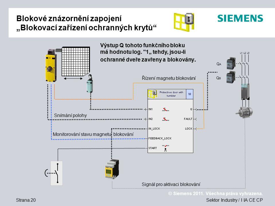 """Blokové znázornění zapojení """"Blokovací zařízení ochranných krytů"""