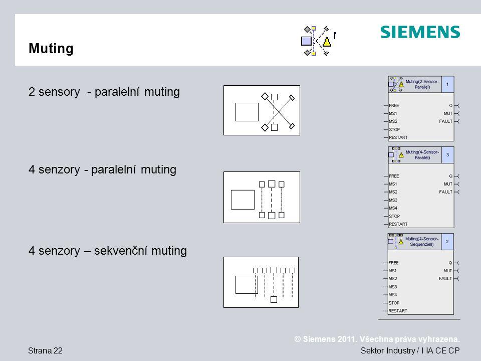 Muting 2 sensory - paralelní muting 4 senzory - paralelní muting