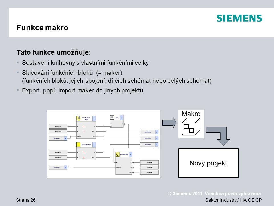 Funkce makro Tato funkce umožňuje: Makro Nový projekt